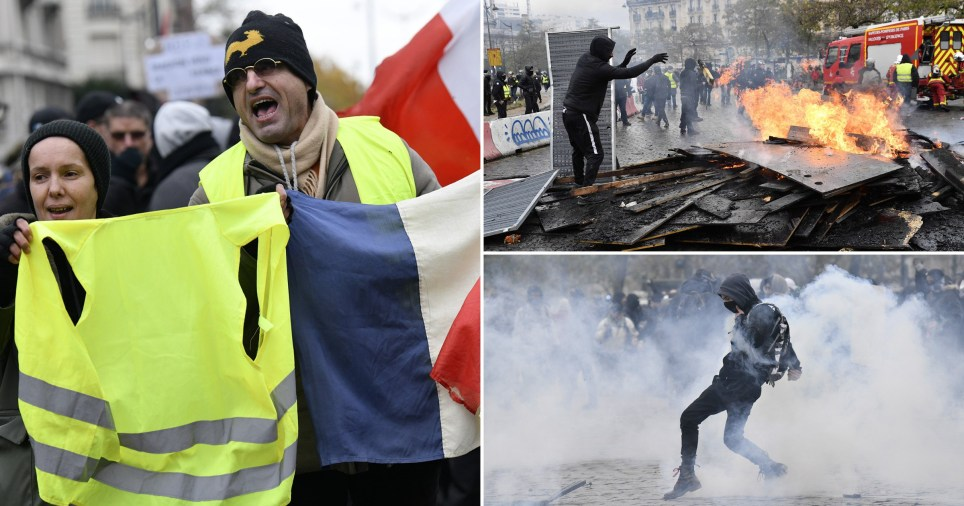 Comp of yellow vest anniversary protests