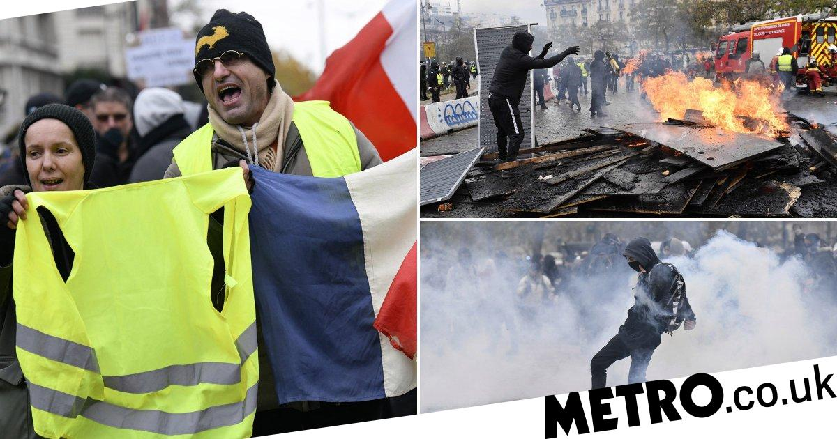 Tear gas fired on protesters marking Paris yellow vest anniversary - Metro.co.uk