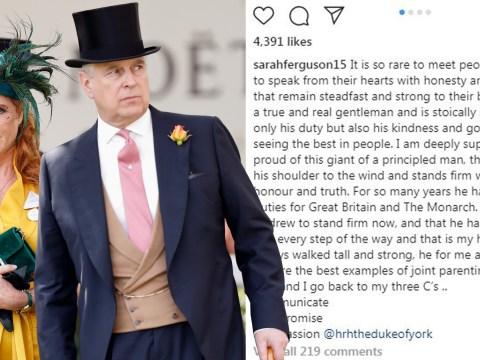 Sarah Ferguson defends Prince Andrew as a 'true gentleman' in rare statement