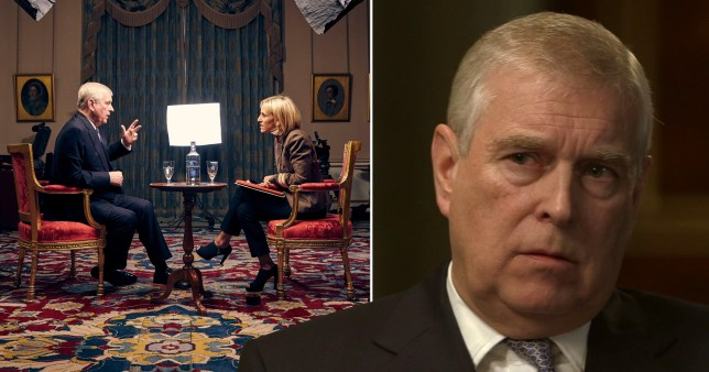 Prince Andrew being interviewed by Emily Maitlis on BBC Newsnight