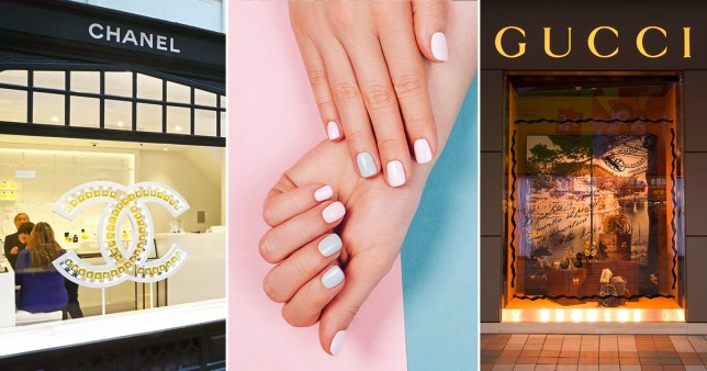 chanel and gucci shops and a women's nails
