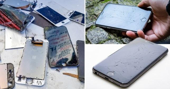 smashed phone screens