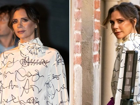 Victoria Beckham cracks ever so slight a smile as she talks about David's 'bronze bottom'