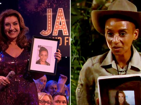 Jane McDonald supports number one fan Adele Roberts on I'm A Celebrity by carrying around a framed picture of her