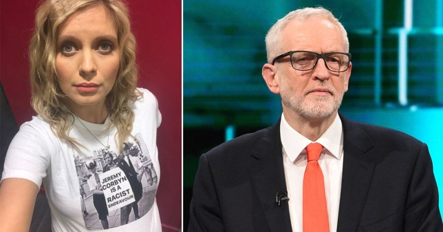 A photo of Rachel Riley next to a picture of Jeremy Corbyn