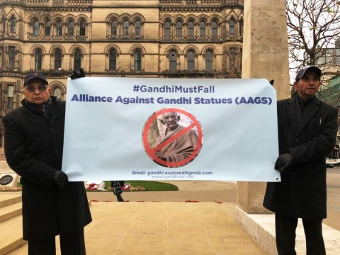Protesters call Gandhi a 'racist misogynist' and call for statue to be ditched