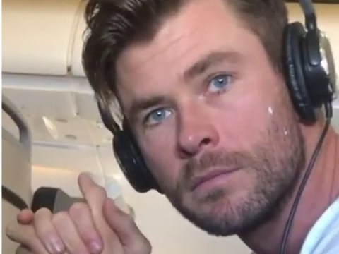 Chris Hemsworth's pals make sure his ears stay moisturised on a flight with cheeky prank