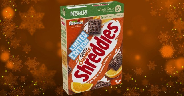 box of Coco Orange Shreddies on colourful background