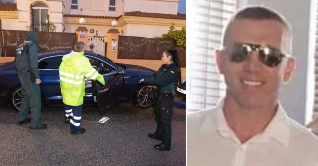 Picture of crime scene outside Costa del Sol villa and murdered British businessman Peter Andrew Williamson, 39, from Salford, Greater Manchester