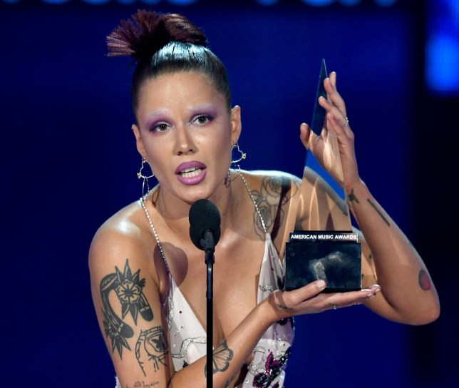 LOS ANGELES, CALIFORNIA - NOVEMBER 24: Halsey accepts the Favorite Song - Pop/Rock award for 'Without Me' onstage during the 2019 American Music Awards at Microsoft Theater on November 24, 2019 in Los Angeles, California. (Photo by Kevin Winter/Getty Images for dcp)