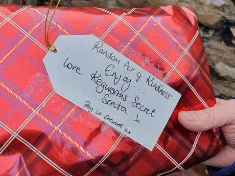 Mystery 'secret Santa' is leaving gifts for people to find all over this village