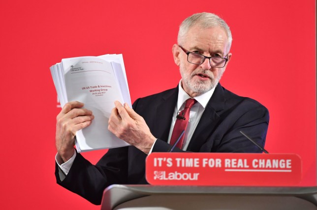 Labour leader Jeremy Corbyn holds a redacted copy of the Department for International Trade's UK-US Trade and Investment Working Group readout as he delivers a speech about the NHS, in Westminster, London. PA Photo. Picture date: Wednesday November 27, 2019. See PA story POLITICS Election. Photo credit should read: Dominic Lipinski/PA Wire