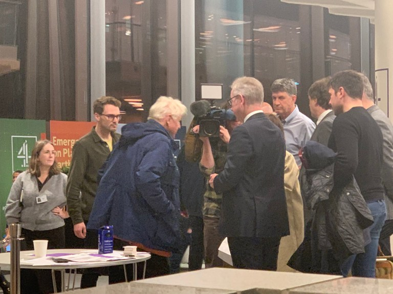 Pic posted to twitter by former MP and parliamentary candidate Clive Lewis Michael Gove and Stanley Johnson turn up at Channel 4 climate debate