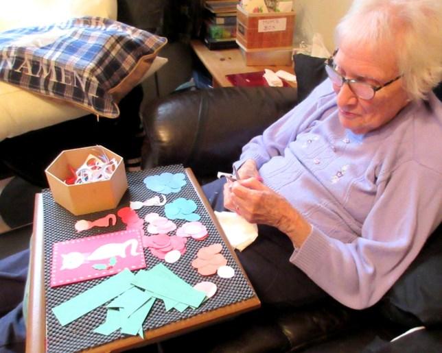 Margaret making cards