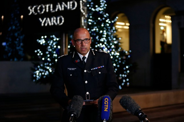 Assistant Commissioner Neil Basu speaks to the media at New Scotland Yard in Westminster, London, after a terrorist wearing a fake suicide vest who went on a knife rampage killing two people, was shot dead by police. PA Photo. Picture date: Saturday November 30, 2019. See PA story POLICE LondonBridge. Photo credit should read: Hollie Adams/PA Wire