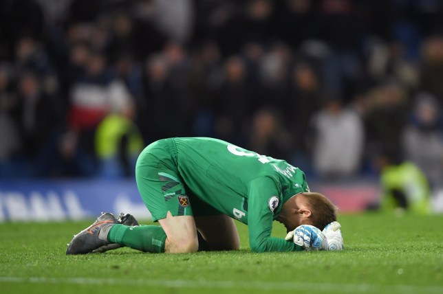 LONDON, ENGLAND - NOVEMBER 30: David Martin of West Ham United celebrates victory at full-time after the Premier League match between Chelsea FC and West Ham United at Stamford Bridge on November 30, 2019 in London, United Kingdom. (Photo by Mike Hewitt/Getty Images)