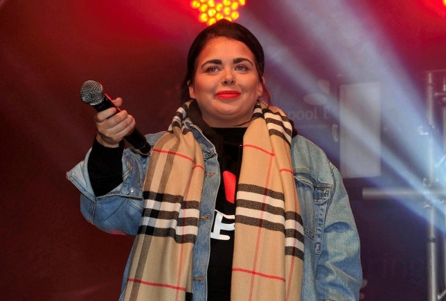 BGUK_1801881 - Blackpool, UNITED KINGDOM - **STRICTLY NO MAIL ONLINE** Scarlett Moffatt switches on the Christmas lights in Blackpool, as she brings her boyfriend to the stage. Pictured: Scarlett Moffatt BACKGRID UK 30 NOVEMBER 2019 BYLINE MUST READ: AARON PARFITT / BACKGRID UK: +44 208 344 2007 / uksales@backgrid.com USA: +1 310 798 9111 / usasales@backgrid.com *UK Clients - Pictures Containing Children Please Pixelate Face Prior To Publication*