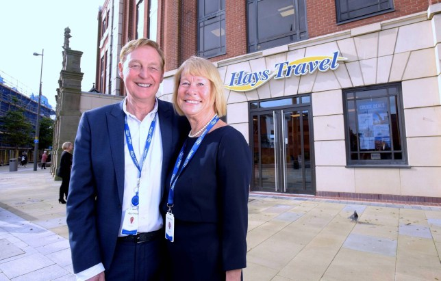 Dated: 09/10/2019 HAYS TRAVEL BUYS THOMAS COOK STORES ... John Hays, Founder and Managing director, and Irene Hays, Chair of Hays Travel Group, pictured at the Hays Travel HQ in Sunderland today (WED) after announcing that Hays Travel have agreed to buy all 555 Thomas Cook high street shops, potentially saving up to 2,500 jobs. See story and VIDEO by North News