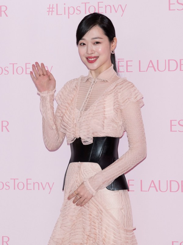 13 February 2019 - Seoul, South Korea : South Korean singer and actress Choi Jin-ri, (stage name: Sulli), former member of K-Pop girl group F(x), attends the photo call for multinational manufacturer and marketer of prestige skin care, makeup, fragrance and hair care product 'Est?e Lauder' launching at Est?e Lauder store in Seoul, South Korea on February 13, 2019. Photo Credit: Lee Young-ho/Sipaa USA