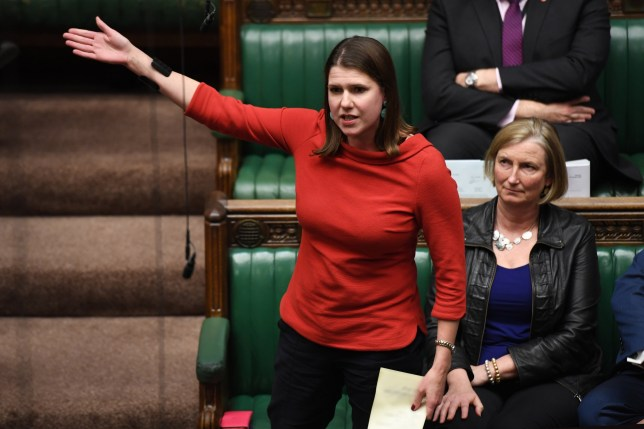 A handout photo made available by the UK Parliament shows Leader of the Liberal Democrats, Jo Swinson during an election debate in the House of Commons in London, Britain, 28 October 2019. The MPs gathered to debate and vote on motion to hold elections on 12 December 2019. The MPs voted to reject the plan for 12 December election. EPA/JESSICA TAYLOR / UK PARLIAMENT HANDOUT MANDATORY CREDIT: UK PARLIAMENT / JESSICA TAYLOR HANDOUT EDITORIAL USE ONLY/NO SALES epa07957035