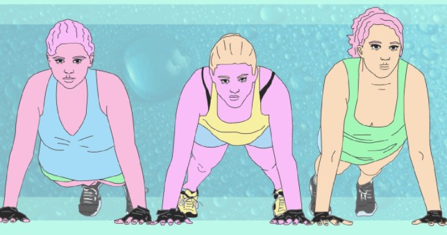 Illustration of three women working out