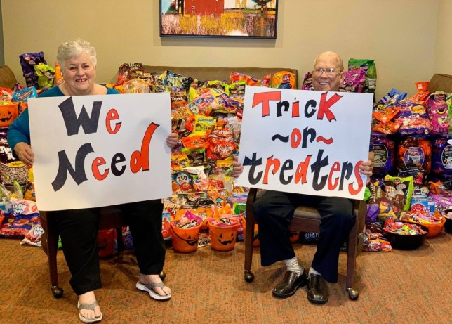 Retirement home residents asking for trick or treaters