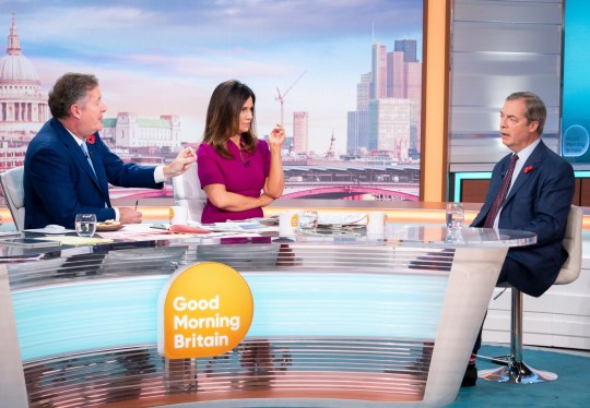 Editorial use only Mandatory Credit: Photo by S Meddle/ITV/REX (10464971h) Piers Morgan and Susanna Reid with Nigel Farage 'Good Morning Britain' TV show, London, UK - 04 Nov 2019