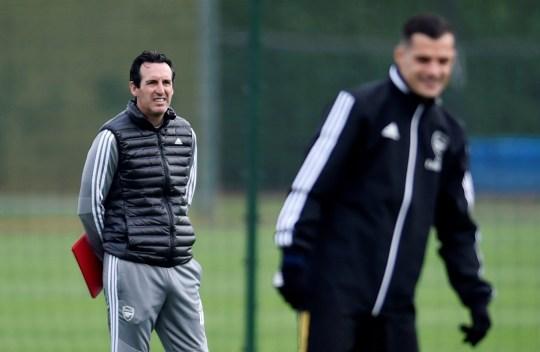 Unai Emery watches Arsenal training with Granit Xhaka in his eye line