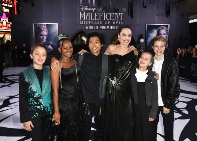 Knox Leon Jolie-Pitt, Zahara Marley Jolie-Pitt, Pax Thien Jolie-Pitt, Angelina Jolie, Vivienne Marcheline Jolie-Pitt and Shiloh Nouvel Jolie-Pitt