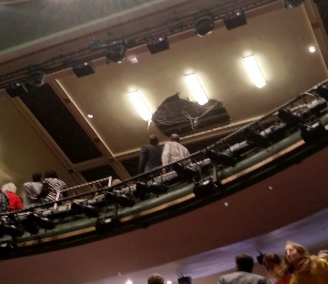 Picture taken with permission from the twitter feed of @KBGDunn showing part of the ceiling that came down at the Piccadilly Theatre, London, during the production of Death of A Salesman. PA Photo. Issue date: Wednesday November 6, 2019. See PA story ACCIDENT Theatre. Photo credit should read: Kieran Dunn/PA Wire NOTE TO EDITORS: This handout photo may only be used in for editorial reporting purposes for the contemporaneous illustration of events, things or the people in the image or facts mentioned in the caption. Reuse of the picture may require further permission from the copyright holder.