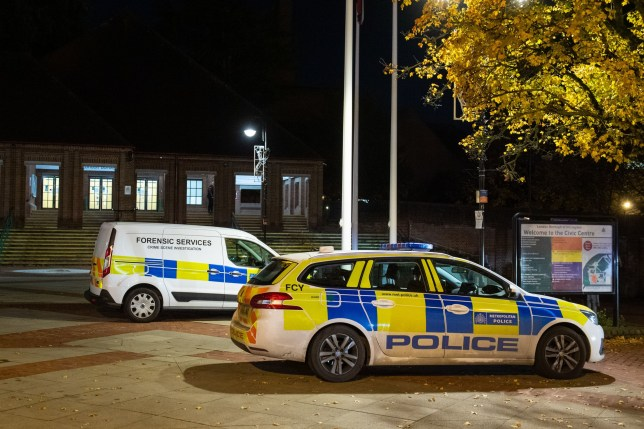 Police at the scene at the Hillingdon Civic Centre in Uxbridge, west London, following the stabbing of a teenager in the chest. The victim was taken to a hospital in west London but was pronounced dead, Scotland Yard said. PA Photo. Picture date: Thursday November 7, 2019. See PA story POLICE Uxbridge. Photo credit should read: Dominic Lipinski/PA Wire