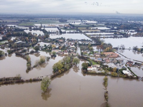 Yorkshire floods pictured from the sky as villages are abandoned