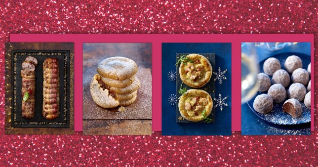 Four dishes from Asda's Christmas range including a pigs in blankets centrepiece, mince pie cookies, puff pastry and champagne truffles