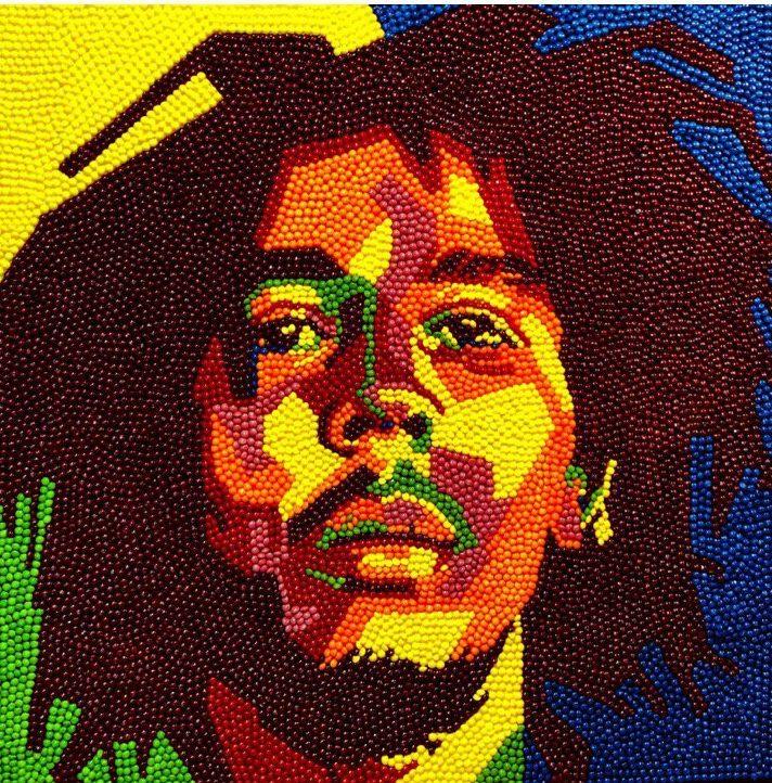 Portrait of Bob Marley using Skittles