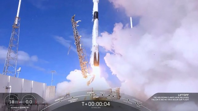 "This SpaceX video grab image shows SpaceX's first operational Starlink during launch on a reused Falcon 9 on November 11, 2019 at Cape Canaveral, Florida. - SpaceX targeted, November 11, 2019 at 9:56 a.m. EST, 14:56 UTC, a launch of 60 Starlink satellites from Space Launch Complex 40 (SLC-40) at Cape Canaveral Air Force Station, Florida. (Photo by HO / SPACEX / AFP) / RESTRICTED TO EDITORIAL USE - MANDATORY CREDIT ""AFP PHOTO /SPACEX/HANDOUT "" - NO MARKETING - NO ADVERTISING CAMPAIGNS - DISTRIBUTED AS A SERVICE TO CLIENTS (Photo by HO/SPACEX/AFP via Getty Images)"