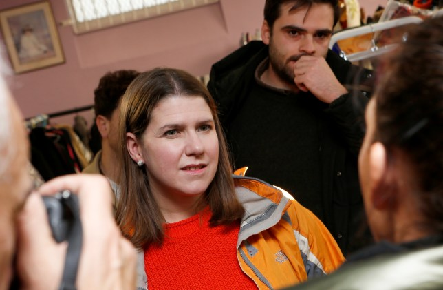 """Liberal Democrat leader Jo Swinson visits the charity shop """"Stainforth 4 All"""" in Doncaster, Britain November 12, 2019. REUTERS/Craig Brough"""