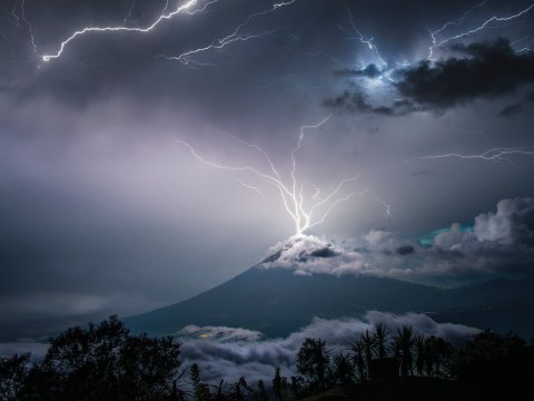 The incredible moment a lightning bolt hit an exploding volcano