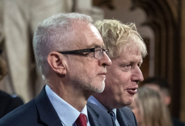 LONDON, ENGLAND - OCTOBER 14: Prime Minister, Boris Johnson and Labour leader, Jeremy Corbyn attend the State Opening of Parliament at the Palace of Westminster on October 14, 2019 in London, England. The Queen's speech is expected to announce plans to end the free movement of EU citizens to the UK after Brexit, new laws on crime, health and the environment. (Photo by Jack Hill - WPA Pool / Getty Images)
