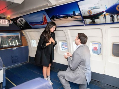 Man surprises girlfriend by proposing as she boards plane – one year after they met on a flight