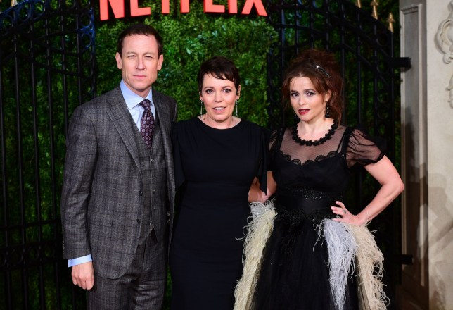 Tobias Menzies, Olivia Colman and Helena Bonham Carterarriving for The Crown Season Three Premiere
