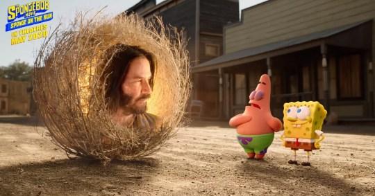 Keanu Reeves is a tumbleweed in Spongebob trailer