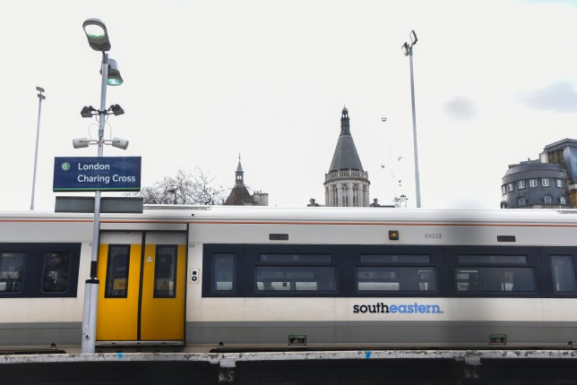 View of a Southeastern train as it makes its way to Charing Cros Station, London on January 3, 2018. Train strikes are looming in the new year as rail workers plan a series of 24-hour walkouts in the long-running row over the role of guards. RMT members at five operators will walk out on 8, 10 and 12 January. Workers at Southern will strike on 8 January. (Photo by Alberto Pezzali/NurPhoto)