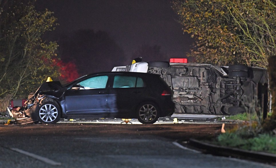 The scene near the village of Bluntisham in Cambridgeshire where a minibus and a car were involved in a collision. PA Photo. Picture date: Thursday November 14, 2019. Cambridgeshire Constabulary said some people had been seriously injured in the two-vehicle crash, which happened at the junction with Bluntisham Heath Road at about 4.50pm. See PA story POLICE Bluntisham. Photo credit should read: Joe Giddens/PA Wire