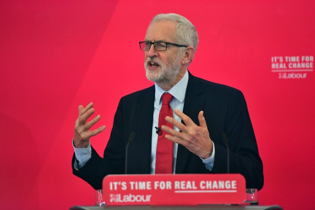 LANCASTER, ENGLAND - NOVEMBER 15: Labour leader Jeremy Corbyn addresses the audience at the University of Lancaster on November 15, 2019 in Lancaster, England. The Labour leader has announced a major new digital infrastructure policy including free broadband for all. (Photo by Anthony Devlin/Getty Images)