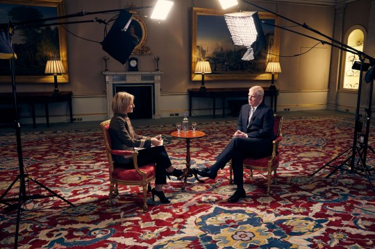 RETRANSMITTING AMENDING BYLINE INFORMATION For use in UK, Ireland or Benelux countries only Undated BBC handout photo showing the Duke of York , speaking for the first time about his links to Jeffrey Epstein in an interview with BBC Newsnight's Emily Maitlis, which will be broadcast by the BBC on Saturday. PA Photo. Issue date: Friday November 15, 2019. See PA story ROYAL Andrew. Photo credit should read: Mark Harrington/BBC/PA Wire NOTE TO EDITORS: Not for use more than 21 days after issue. You may use this picture without charge only for the purpose of publicising or reporting on current BBC programming, personnel or other BBC output or activity within 21 days of issue. Any use after that time MUST be cleared through BBC Picture Publicity. Please credit the image to the BBC and any named photographer or independent programme maker, as described in the caption.