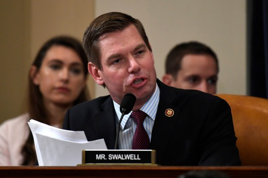Rep. Eric Swalwell, D-Calif., questions former U.S. Ambassador to Ukraine Marie Yovanovitch at the House Intelligence Committee on Capitol Hill in Washington, Friday, Nov. 15, 2019, during the second public impeachment hearing of President Donald Trump's efforts to tie U.S. aid for Ukraine to investigations of his political opponents. (AP Photo/Susan Walsh)