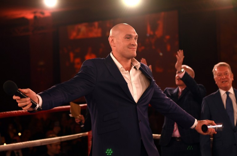 Heavyweight boxer Tyson Fury sings American Pie during the Nordoff Robbins Boxing Dinner