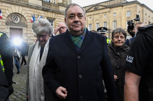 Former Scottish first minister and pro-independence figurehead Alex Salmond leaves a preliminary hearing over allegations of sexual harassment, at the High Court in Edinburgh on November 21, 2019. (Photo by ANDY BUCHANAN / AFP) (Photo by ANDY BUCHANAN/AFP via Getty Images)