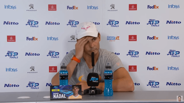 Rafael Nadal reacts to question after ATP Finals defeat