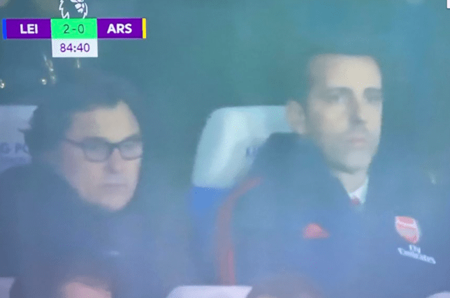 Arsenal chiefs Edu and Raul Sanllehi watched on as Arsenal lost at Leicester